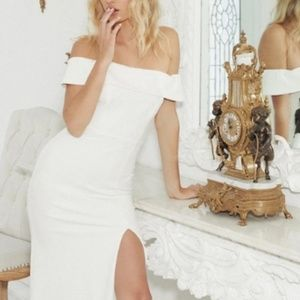 Aveline White Off the Shoulder Dress from Lulu's